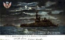 shi003590 - USS Massachusetts, USS Brooklyn Military Battleship Postcard Post Card Old Vintage Anitque
