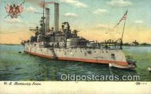 shi003593 - USS Battleship Iowa Military Battleship Postcard Post Card Old Vintage Anitque