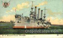 shi003594 - US Armored Cruiser Brooklyn Military Battleship Postcard Post Card Old Vintage Anitque