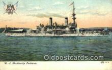 shi003597 - US Battleship Indiana Military Battleship Postcard Post Card Old Vintage Anitque