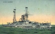 shi003631 - USS Illinois Military Battleship Postcard Post Card Old Vintage Anitque