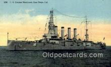 shi003673 - US Cruiser Maryland, San Diego, CA Military Battleship Postcard Post Card Old Vintage Anitque