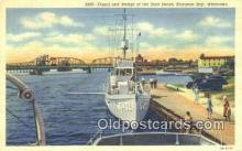 shi003828 - Canal and Bridge Boat docks, Sturgeon Bay, Wisconsin, WI USA Military Battleship Postcard Post Card Old Vintage Antique