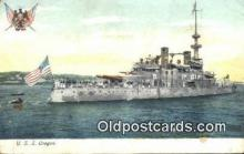 shi003873 - USS Oregon Military Battleship Postcard Post Card Old Vintage Antique