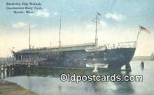 shi003884 - Receiving Ship Wabash, Charlestown Navy Yard, Boston, Massachusetts, MA USA Military Battleship Postcard Post Card Old Vintage Antique