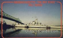 shi003907 - USS Massachusetts, Fall River, Massachusetts, MA USA Military Battleship Postcard Post Card Old Vintage Antique