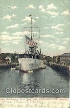 shi003964 - Cruiser At Maryland Dock,  Navy Yard, Charlestown, Massachusetts, MA USA Military Battleship Postcard Post Card Old Vintage Antique
