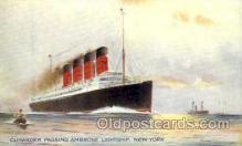 shi005168 - Artist Richard Oliver, Cunarder Passing Ambrose Light ship, New YorkCunard Line, Ship Ships Postcard Postcards