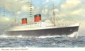 shi005228 - R.M.S. Queen Elizabeth Cunard Ship Ships Postcard Postcards