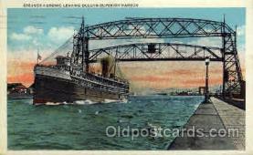 shi008104 - Huronic, Leaving Duluth - Superior Harbor,  Steam Boat Steamer Ship Ships Postcard Postcards
