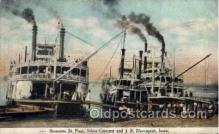 shi008226 - Steamers St. Paul, Silver Cresent, & J.S.Davenport, Iowa, USA  Ship Ships Postcard Postcards