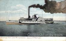 shi008240 - Steamer Mt. Washington, Greetings from Lake Winnipesaukee, Boston & Maine, Ship Ships Postcard Postcards