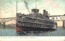 shi008908 - Hendrick Hudson under Poughkeepsie bridge,N.Y., USA Steamer Ship Ships Postcard Postcards
