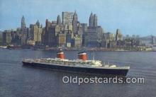 shi009149 - SS United States Ship Length 990 Ft. In New York Harbor Old Vintage Postcard Post Card