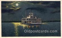 shi009289 - Moonlight On The Ohio River, Ohio, OH USA Steam Ship Postcard Post Cards