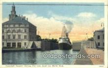 shi009306 - Passenger Steamer Leaving Port Lock, Sault Street, Marie, Michigan, MI USA Steam Ship Postcard Post Cards