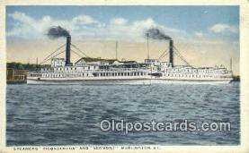 shi009397 - Steamers Ticonderoga And Vermont, Burlington, Vermont, VT USA Steam Ship Postcard Post Cards