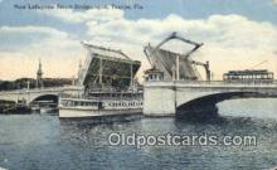 shi009522 - New Lafayette Street Bridge, Open, Tampa, Florida, FL USA Steam Ship Postcard Post Cards