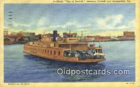 shi009526 - Ferry, City Of Norfolk, Portsmouth, Virginia,  VA USA Steam Ship Postcard Post Cards