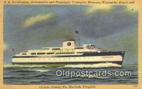 shi009556 - SS Pocahontas Automobile And Passenger Transport, Cape Charles, Norfolk, Virginia, VA USA Steam Ship Postcard Post Cards