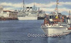 shi009560 - MV Shearwater, SS Lurline, Los Angeles Harbor, California, CA USA Steam Ship Postcard Post Cards