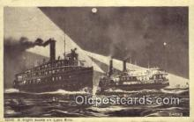 shi009564 - A Night Scene On Lake Erie, Michigan MI USA Steam Ship Postcard Post Cards