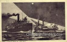 shi009671 - A Night Scene On Lake Erie, Michigan MI USA Steam Ship Postcard Post Cards