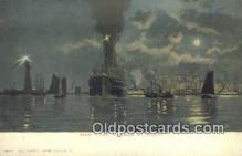 shi009723 - New York Harbor At Night, New York, NY USA Steam Ship Postcard Post Cards