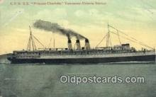 shi009767 - CPR SS Princess Charlotte, Vancouver, British Columbia, BC Steam Ship Postcard Post Cards