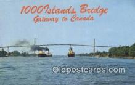 shi009779 - 1000 Islands international Bridge,  ST Lawrence Seaway, Canada Steam Ship Postcard Post Card
