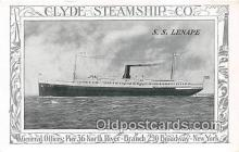 shi012023 - SS Lenape Clyde Steamship Co, New York USA Ship Postcard Post Card