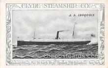 shi012024 - SS Iroquois Clyde Steamship Co, New York USA Ship Postcard Post Card