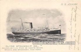 shi012025 - SS Apache Clyde Steamship Co, New York USA Ship Postcard Post Card