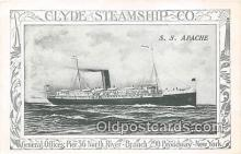 shi012029 - SS Apache Clyde Steamship Co, New York Ship Postcard Post Card
