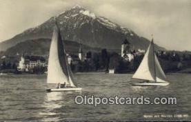 shi020270 - Spiez Mit Niesen Sail Boat Postcard Post Card