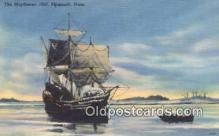 shi020274 - The Mayflower, Plymouth Harbor, Massachusetts, MA USA Sail Boat Postcard Post Card