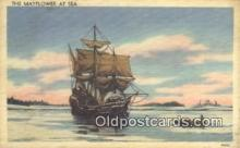 shi020297 - The Mayflower, Plymouth Harbor, Massachusetts, MA USA Sail Boat Postcard Post Card