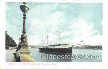 shi020307 - London HMS Buzzard Training Ship, London, England Sail Boat Postcard Post Card