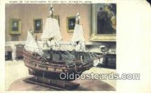 shi020323 - Model OF The Mayflower Pilgrim Hall, Plymouth, Massachusetts, MA USA Sail Boat Postcard Post Card