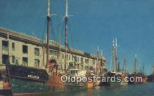 shi020333 - Fishing Boats Tied Along Fish Pier, Boston, Massachusetts, MA USA Sail Boat Postcard Post Card