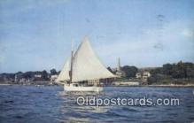 shi020382 - Sailing On The Thames River, New London, Connecticut, CT USA Sail Boat Postcard Post Card