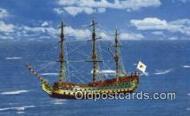 shi020384 - Vaisseau Historique, Breze, Canada Sail Boat Postcard Post Card