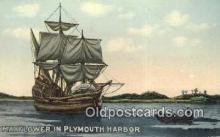 shi020419 - The Mayflower, Plymouth Harbor, Massachusetts, MA USA Sail Boat Postcard Post Card