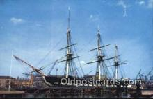 shi020426 - USS Constitution, Charlestown, Massachusetts, MA USA Sail Boat Postcard Post Card