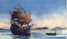 shi020464 - The Mayflower, Plymouth Harbor, Massachusetts, MA USA Sail Boat Postcard Post Card