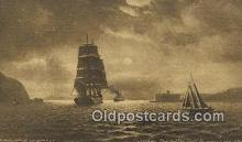 shi020578 - Ships Entering The Golden Gate BY Moonlight, San Francisco, California, CA USA Sail Boat Postcard Post Card