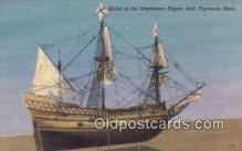 shi020658 - Model Of The Mayflower, Pilgrim Hall, Plymouth, Massachusetts, MA USA Sail Boat Postcard Post Card