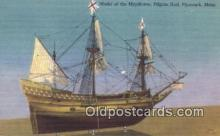 shi020671 - Model Of The Mayflower, Pilgrim Hall, Plymouth, Massachusetts, MA USA Sail Boat Postcard Post Card