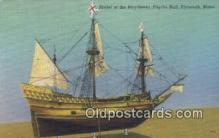 shi020690 - Model Of The Mayflower, Pilgrim Hall, Plymouth, Massachusetts, MA USA Sail Boat Postcard Post Card