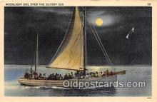 shi020770 - Moonlight Sail  Ship Postcard Post Card